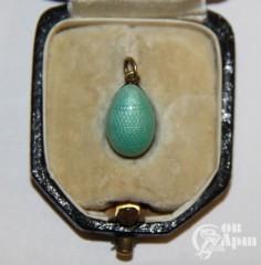 Подвеска яйцо пасхальное с голубой эмалью